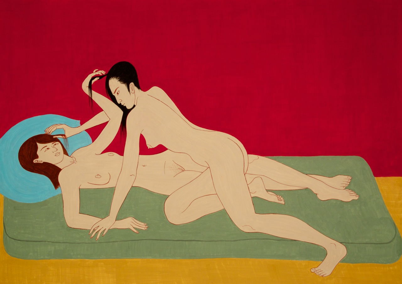 2 Women on Futon in Red Room, 2014, casein on aluminum,  37 x 52 inches - courtesy the artist