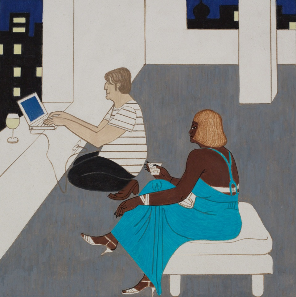 DJ for One Woman, 2014, casein on limestone, 12 x 12 inches - courtesy the artist