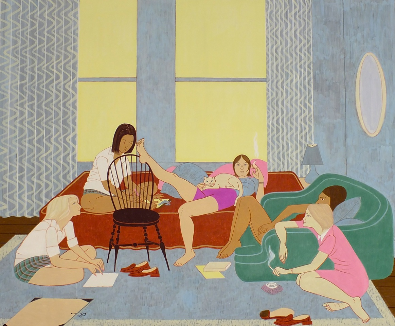 Girls on Campus, 2012, casein on aluminum, 91.5 x 112 cm. courtesy the artist