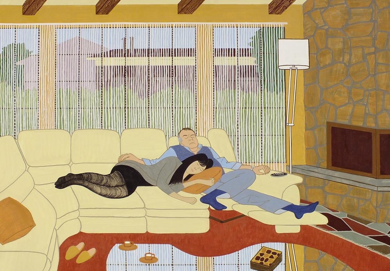 Couple endormis devant la télé, 2012,  caséine sur aluminium, 84 x 112 cm courtesy the artist