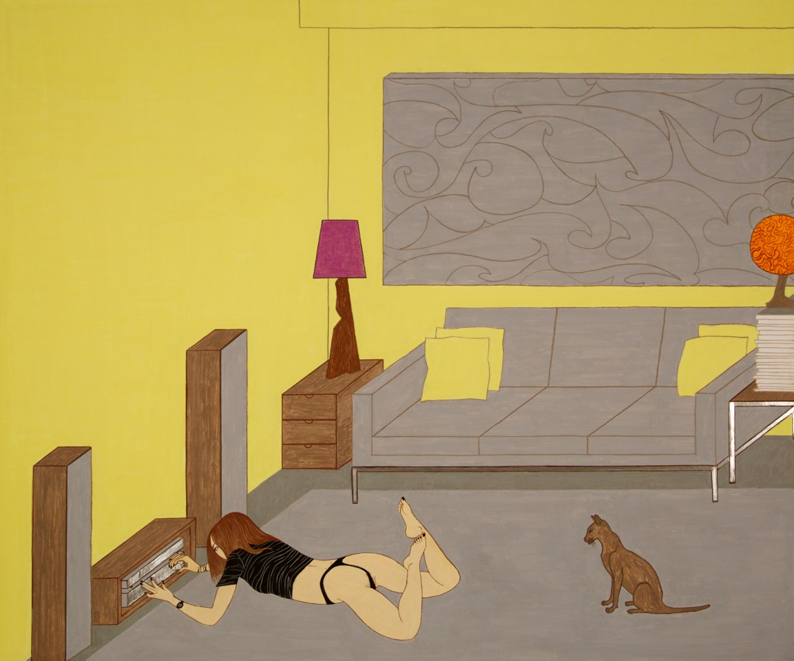 Cat and Thong, 2014, casein on aluminum,  40 x 48 inches courtesy the artist