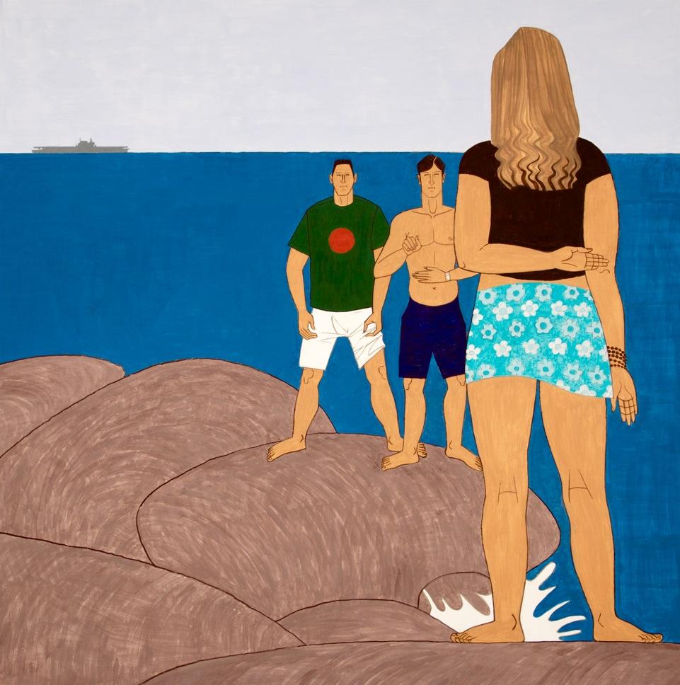Ocean Jetty, 2014, casein on aluminum, 48 x 48 inches - courtesy the artist