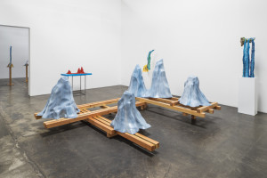 """The Etiquette of Mountains, 2014 Acrylic on polyester resin, on wood base 60 x 146 x 155"""" courtesy Rosamund Felsen Gallery"""