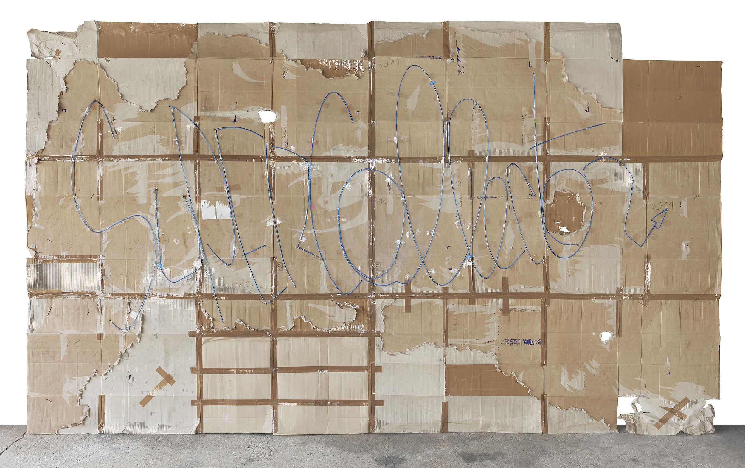 """SuperCollector"", © 2013 Cardboard, neon light ; 543 x 323 cm - courtesy the artist"