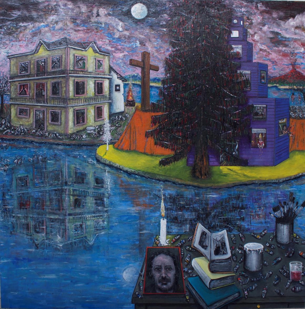 """Eric Corne """"Ombre portée"""" - 2014 - Huile sur toile - 200 x 200 cm - Courtesy Galerie Patricia Dorfmann, Paris © Rebecca Fanuele"""