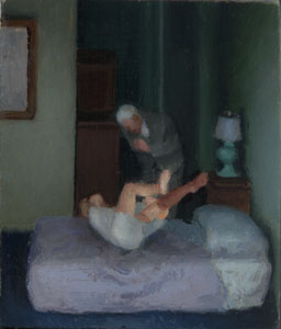 """""""Doubling Over"""" 1.5 x 1.75"""" oil on panel 2006 - courtesy the artist"""