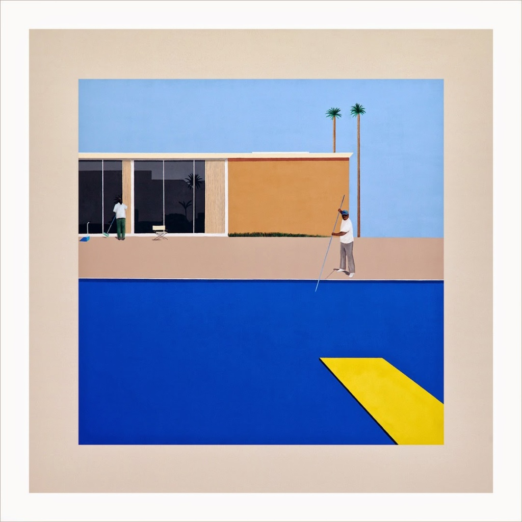 Nick's Pool Being Cleaned (after David Hockney's Peter Getting Out of Nick's Pool, 1966) Acrylic on canvas. 36 x 36 inches. 2013. Photo: Osceola Refetoff - courtesy Charlie James Gallery