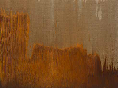 Ruben Ochoa Rust on linen Signed and dated on the back 18 × 24 in Courtesy of Susanne Vielmetter Los Angeles