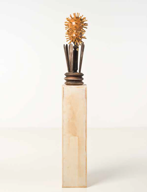 Jason Bailer Losh Brass, gourd, bamboo, maple, Ultracal, twine 71 × 10 × 10 in Courtesy of the Anat Ebgi Gallery,