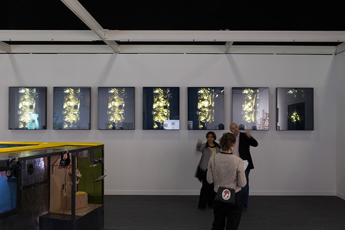Melik Ohanian, winner of the 2015 Marcel Duchamp Prize Installation wiew at FIAC Portrait of Duration, 2015 Seven photographs, light boxes with one second per minute animation 105 x 90 x 10 cm each Courtesy of the artist and Galerie Chantal Crousel, Paris. © Melik Ohanian Photo : Florian Kleinefenn