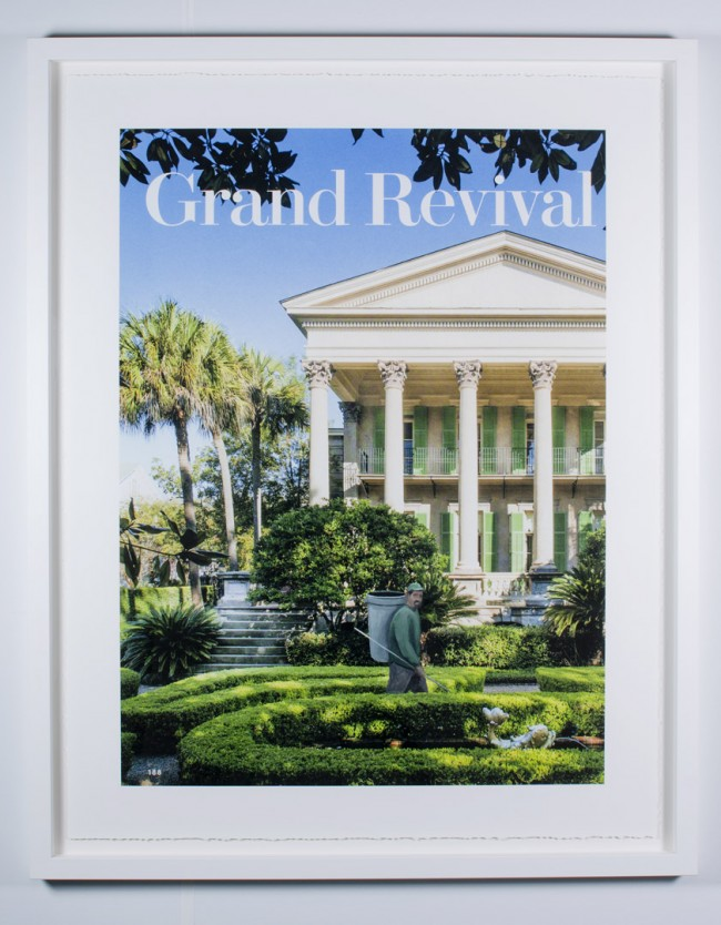 Ramiro Gomez, Grand Revival, 2014. Acrylic on archival pigment print on paper. 59 x 47 inches framed