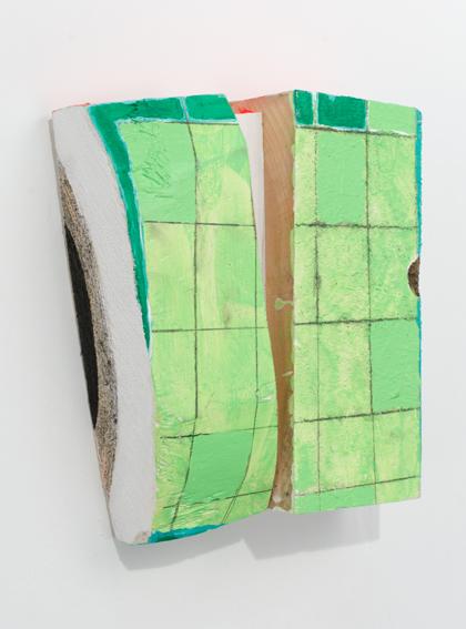 Shelley, 2015, Acrylique, émail et graphite sur bois, 23,5 x 21,5 x 6,5 cm - courtesy Galerie Zürcher