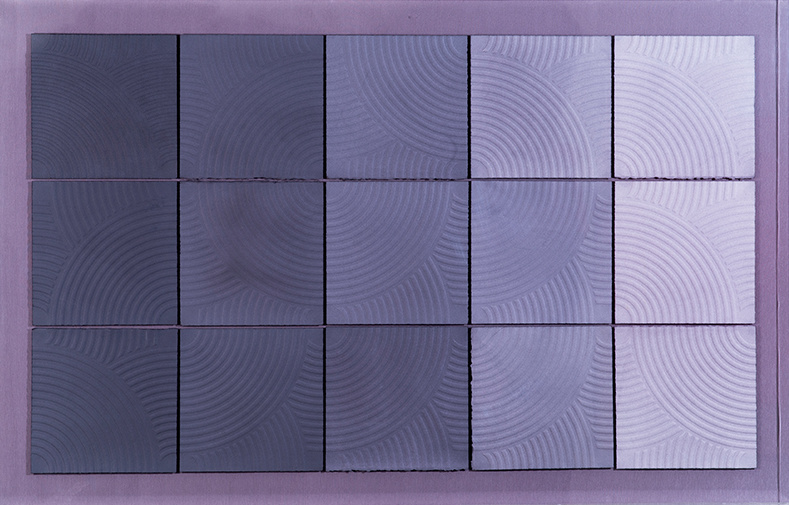 UNIFIED FIELD, 2015, Embossed, Hand-dyed paper Mounted on linen in Acrylic box 36 x 56 1/4 inches - courtesy Paul Loya Gallery