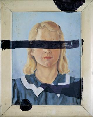 Julian Schnabel Veramente Bestia V (Girl With No Eyes), 1988 Oil on found painting 19 3/4 x 15 3/4 inches Photo: Phillips/Schwab © Julian Schnabel Studio