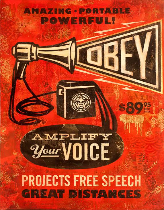 megaphone obey by shepard fairey