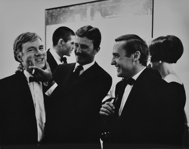 Julian Wasser Andy Warhol, Irving Blum, Billy Al Bengston and Dennis Hopper, at the Opening Reception, Duchamp Retrospective, Pasadena art Museum, 1963 Vintage gelatin silver print - 7.5 x 9.5 inches - courtesy Robert Berman Gallery