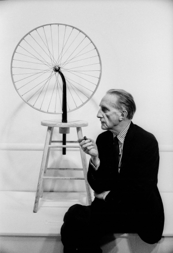 Julian Wasser Marcel Duchamp, Duchamp Retrospective, Pasadena Art Museum, 1963 Contemporary Light Jet Print - 40 x 30 inches - courtesy Robert Berman Gallery