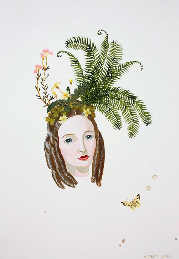 Fern Girl - 2014 acrylic on clay panel, 24x18 courtesy David Lusk Gallery