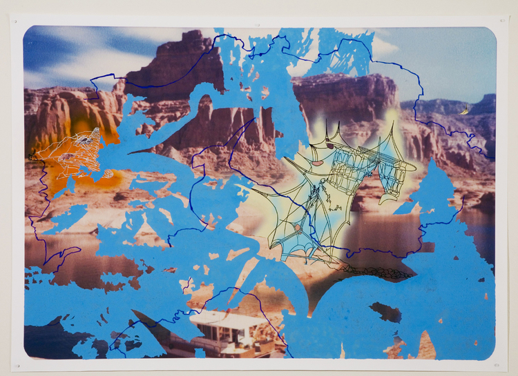 Lake Powell Series: Site Plan 2 (Blue), - 2007, Archival Ink-jet photograph with spray paint, pen, oil pastel and gouache, 33.75 x 47 inches.