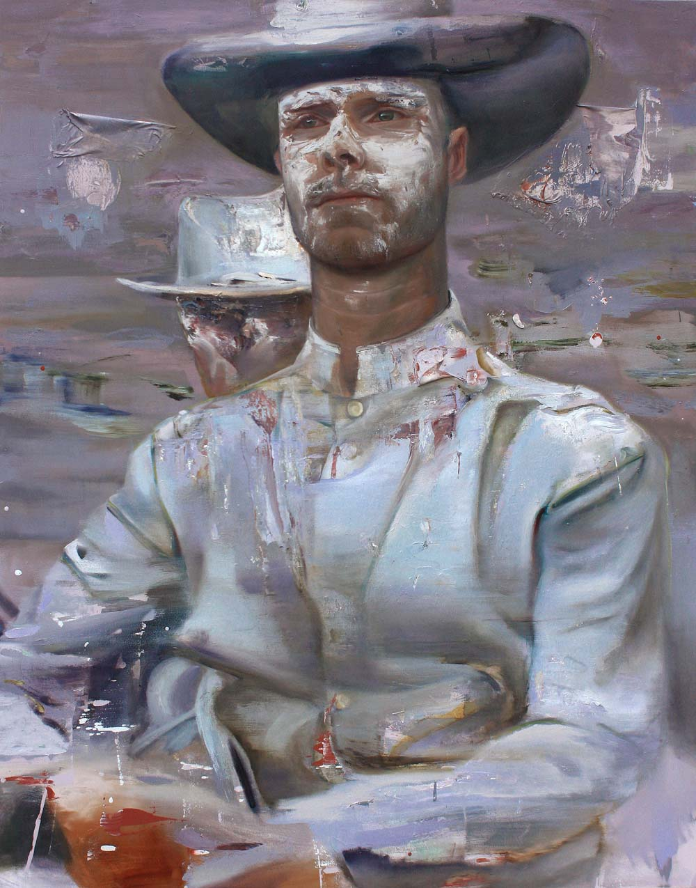 Self-portrait-confederate as Confederate Soldier - 2015 - Mixed media on canvas - 94 x 77 inches - courtesy Jaus