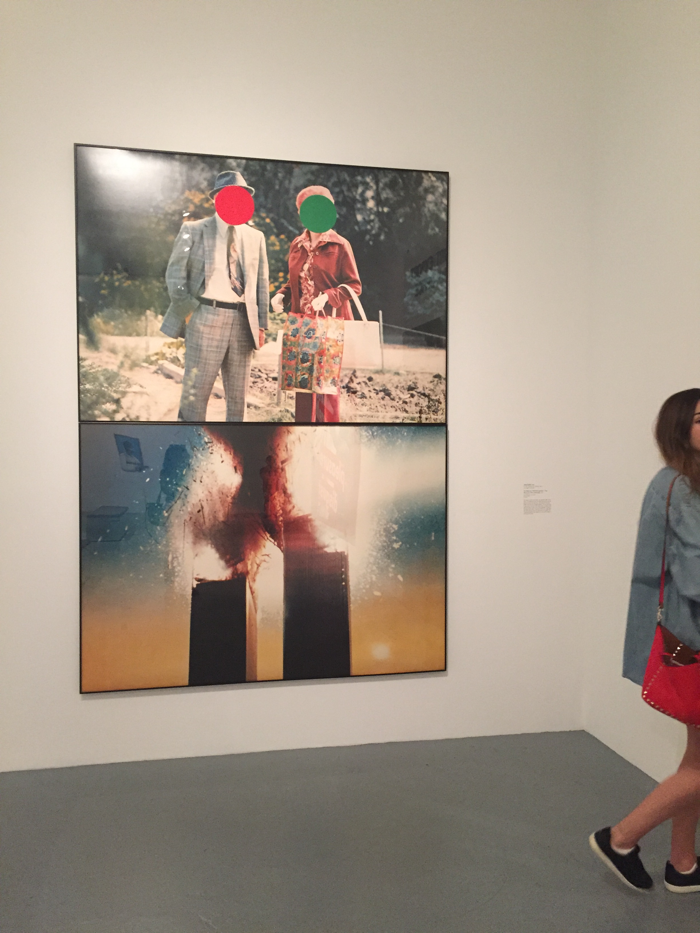 John Baldessari (1990??) Two Highrises (With Disruptions) / Two Witnesses (Red and Green)